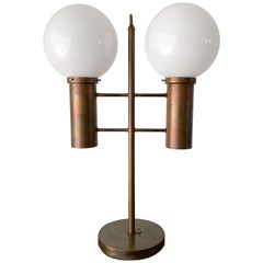 Robert Long Solid Brass and Opal Glass Lamp, Sausalito California, circa 1965