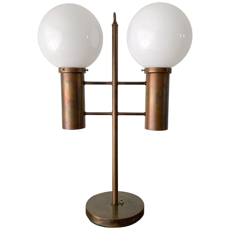 Robert Long Solid Brass and Opal Glass Lamp, Sausalito California, circa 1965 For Sale