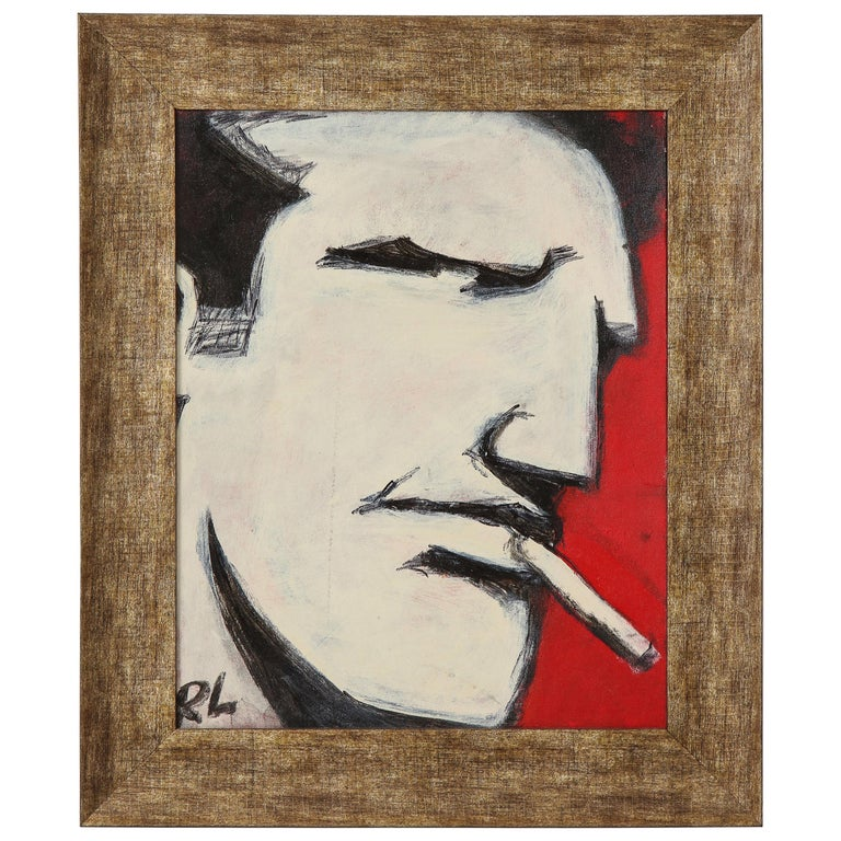 Robert Loughlin, Billy Beer, Painting on Canvas Panel, White, Black, Red, Signed For Sale