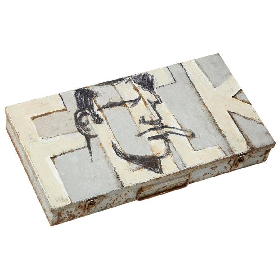 "Robert Loughlin, ""F***"", Acrylic Painting on Metal Box, Signed"
