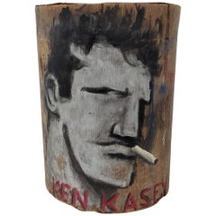 "Robert Loughlin ""Ken Kesey"" Original Painting on Bark, circa 2007"