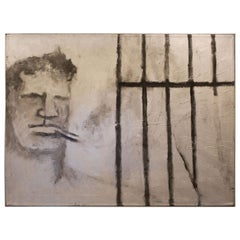 "Robert Loughlin ""Neutra in Prison"" Brute Oil on Canvas"