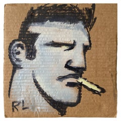 """Robert Loughlin Painting """"Kid With A Smoke"""""""