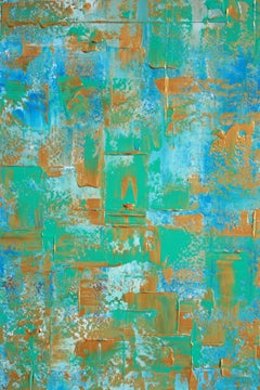 Blue Teal Gold Abstract, Painting, Acrylic on Canvas