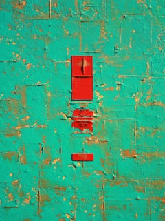 Primitive Aqua Gold Red Abstract, Painting, Acrylic on Canvas