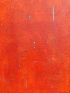 Primitive Red Orange Abstract II, Painting, Acrylic on Canvas