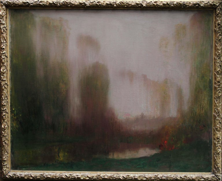 River Landscape - Scottish Glasgow Boys Impressionist Victorian art oil painting For Sale 6