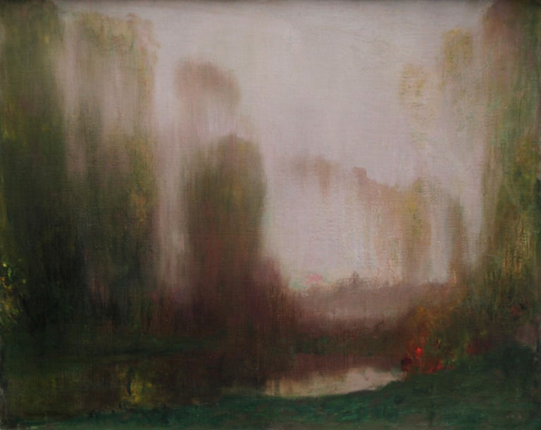 River Landscape - Scottish Glasgow Boys Impressionist Victorian art oil painting For Sale 14