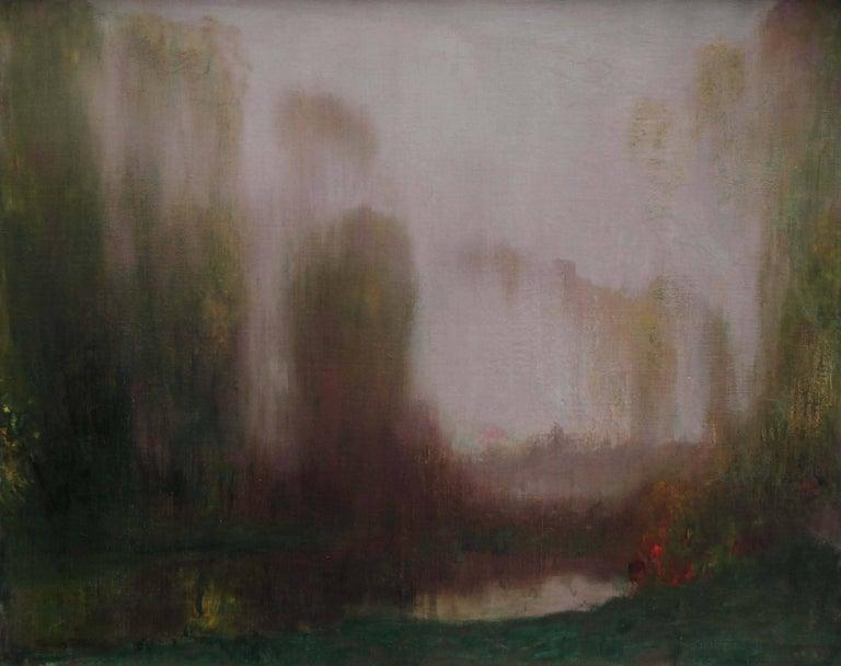 River Landscape - Scottish Glasgow Boys Impressionist Victorian art oil painting - Painting by Robert MacAulay Stevenson