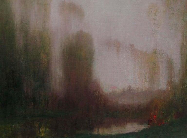 River Landscape - Scottish Glasgow Boys Impressionist Victorian art oil painting - Black Landscape Painting by Robert MacAulay Stevenson