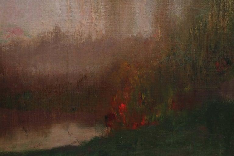 River Landscape - Scottish Glasgow Boys Impressionist Victorian art oil painting For Sale 5