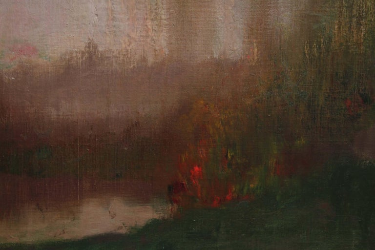 River Landscape - Scottish Glasgow Boys Impressionist Victorian art oil painting For Sale 2