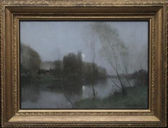 Scottish Nocturne - Glasgow Boy Victorian Impressionist oil painting riverscape