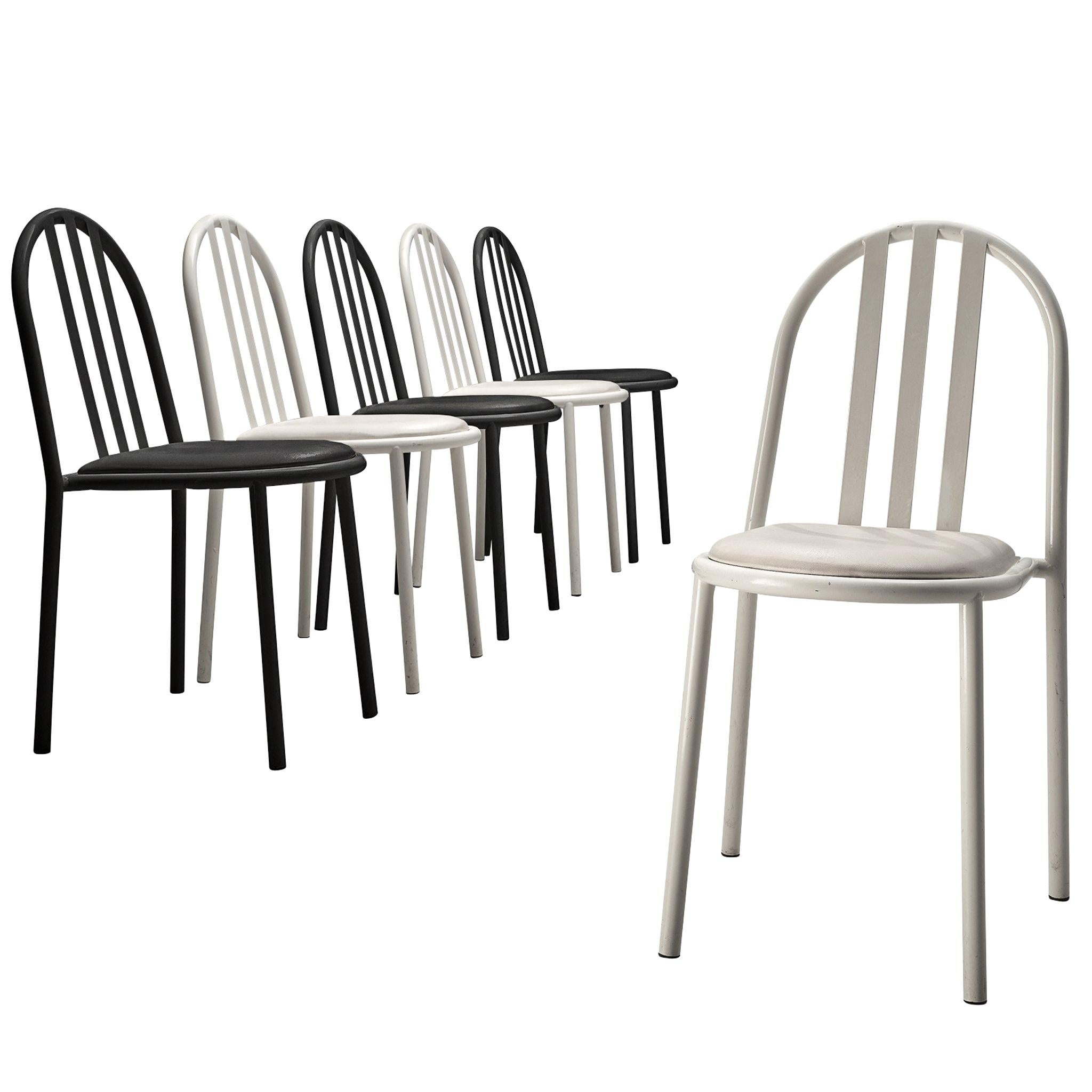 Robert Mallet-Stevens Bicolor Set of Six Tubular Steel Chairs