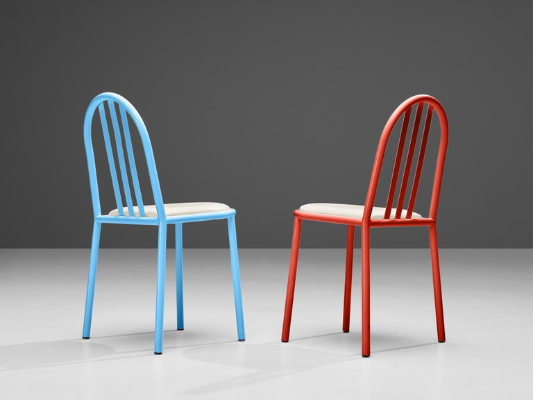 Robert Mallet-Stevens Dining Chairs Model 222 in Colourful Metal For Sale 5
