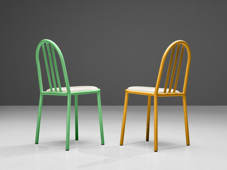 French Robert Mallet-Stevens Dining Chairs Model 222 in Colourful Metal For Sale