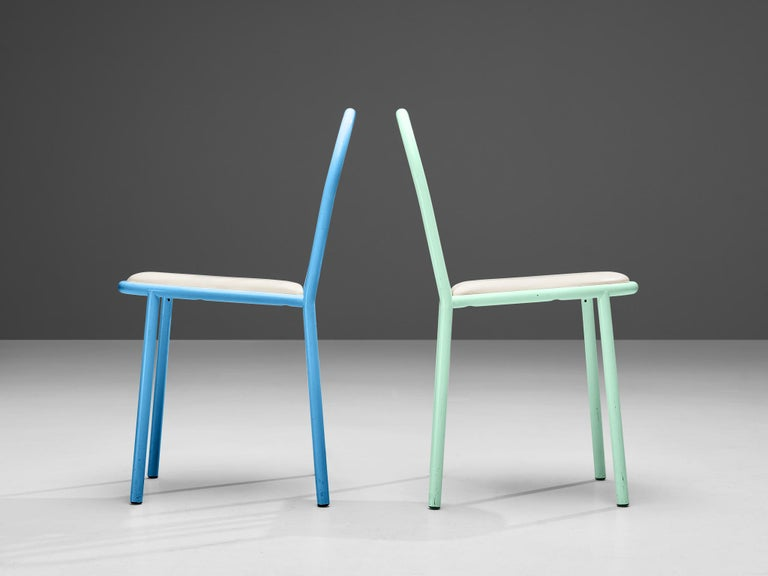 Steel Robert Mallet-Stevens Dining Chairs Model 222 in Colourful Metal For Sale