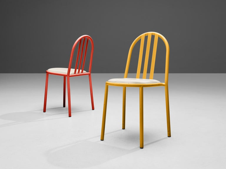 Robert Mallet-Stevens Dining Chairs Model 222 in Colourful Metal For Sale 1
