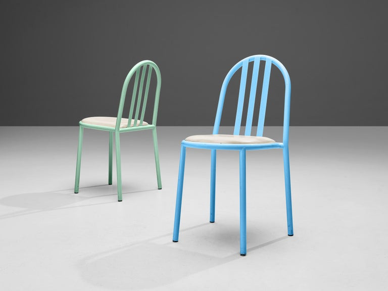 Robert Mallet-Stevens Dining Chairs Model 222 in Colourful Metal For Sale 2