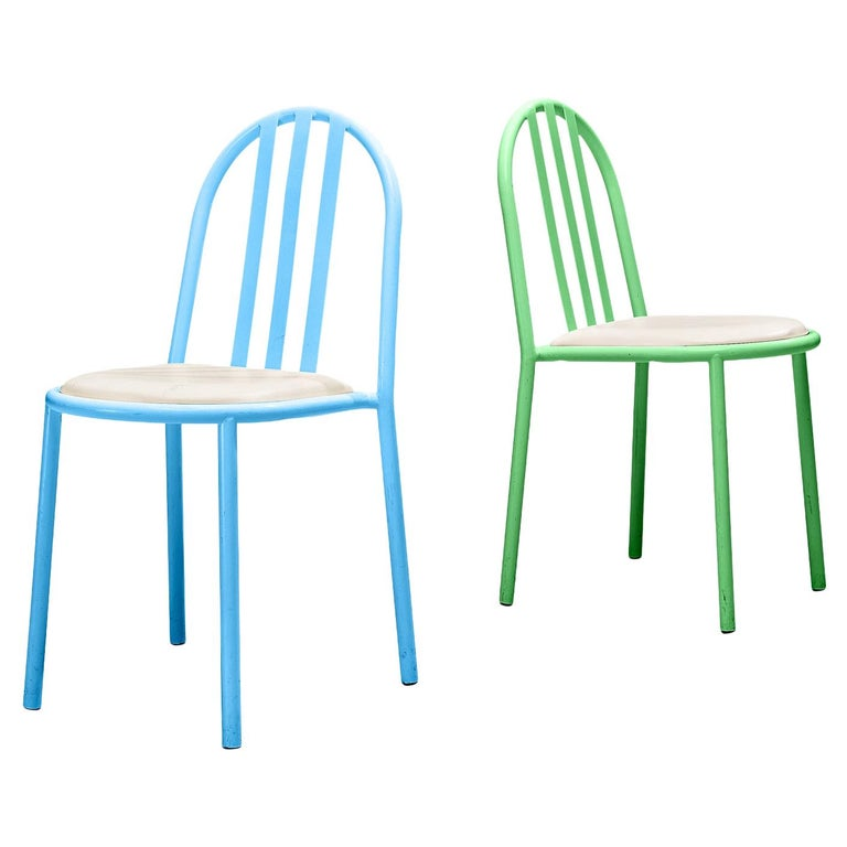 Robert Mallet-Stevens Dining Chairs Model 222 in Colourful Metal For Sale