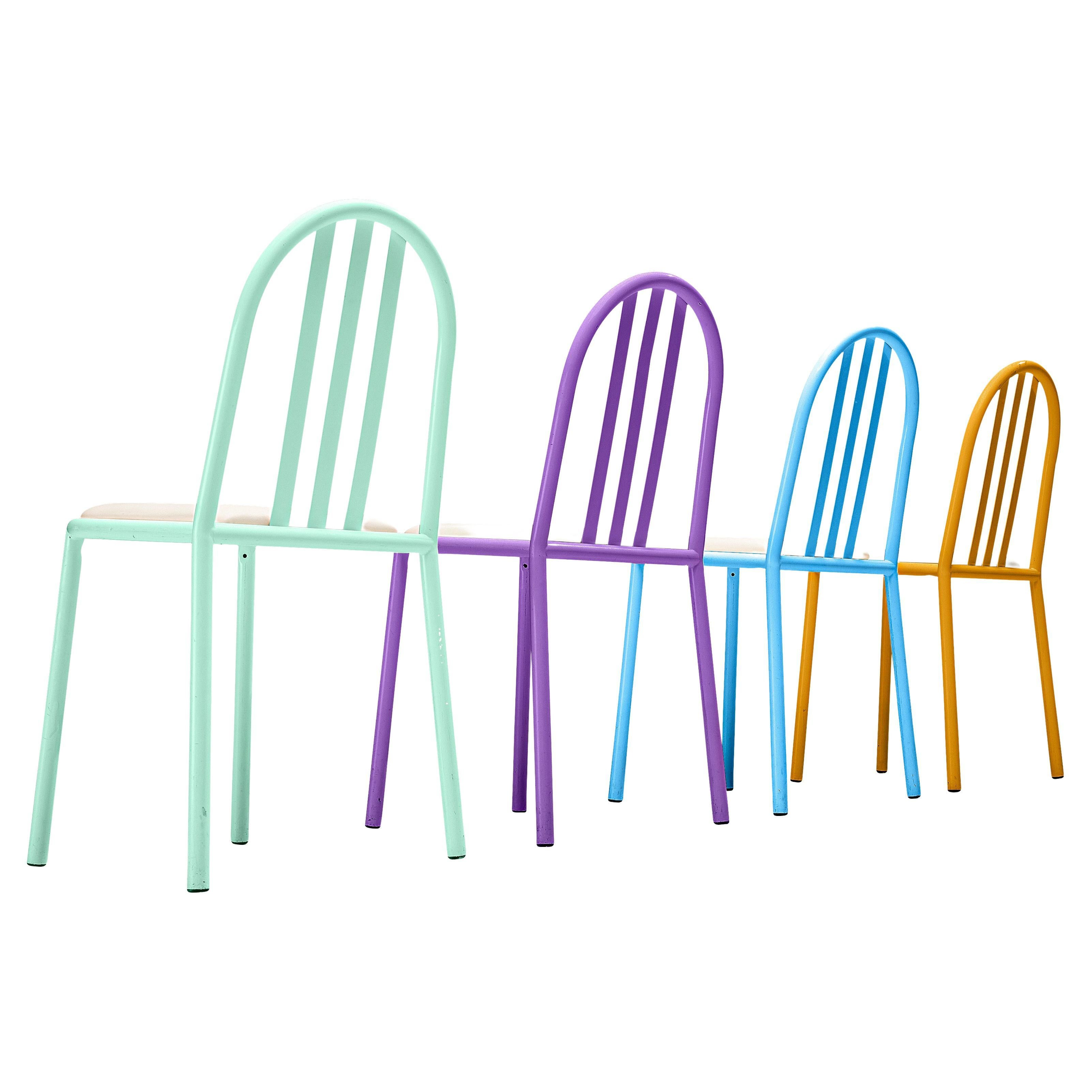Robert Mallet-Stevens Dining Chairs Model '222' in Colourful Metal