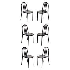 Robert Mallet Stevens No 222 Black Stackable Chair, Set of 6
