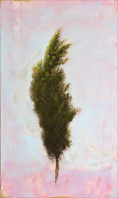 'Abbrugio', abstract realist cypress tree painting with pink, sky blue, green
