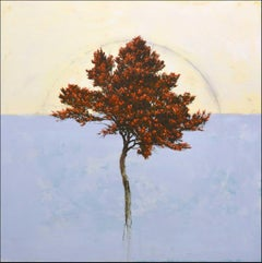 'Acero', abstract realist autumn tree painting with red, lavender, yellow