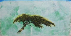 'Emerood', abstract realist juniper tree painting with teal, mint green, white