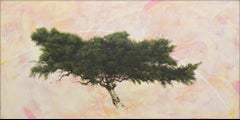 'Harlequin Pine', abstract realist tree painting with yellow, orange, pink