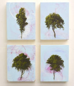 'Quartet', abstract tree painting series of 4 with sky blue, pink, green