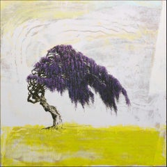 'Wisteria', abstract realist flowering tree painting with purple, chartreuse
