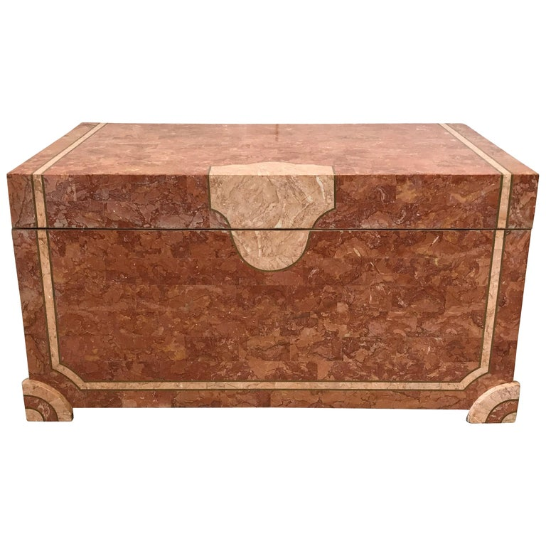 Robert Marcius for Casa Bique Tesselated Stone Trunk Coffee Table, 1980s For Sale
