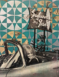 Bardot Original Acrylic, spray paint, resin vintage papers on wood