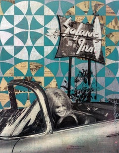 Bardot Original Acrylic, spray paint, vintage papers and Epoxy Resin on wood