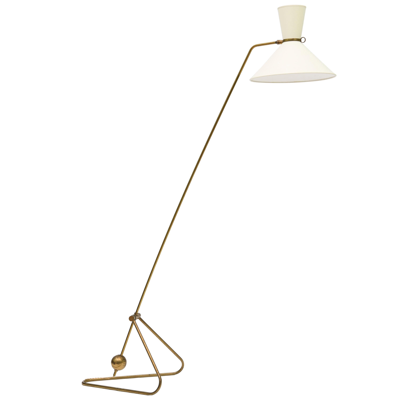 Robert Mathieu Floor Lamp in Brass, circa 1950