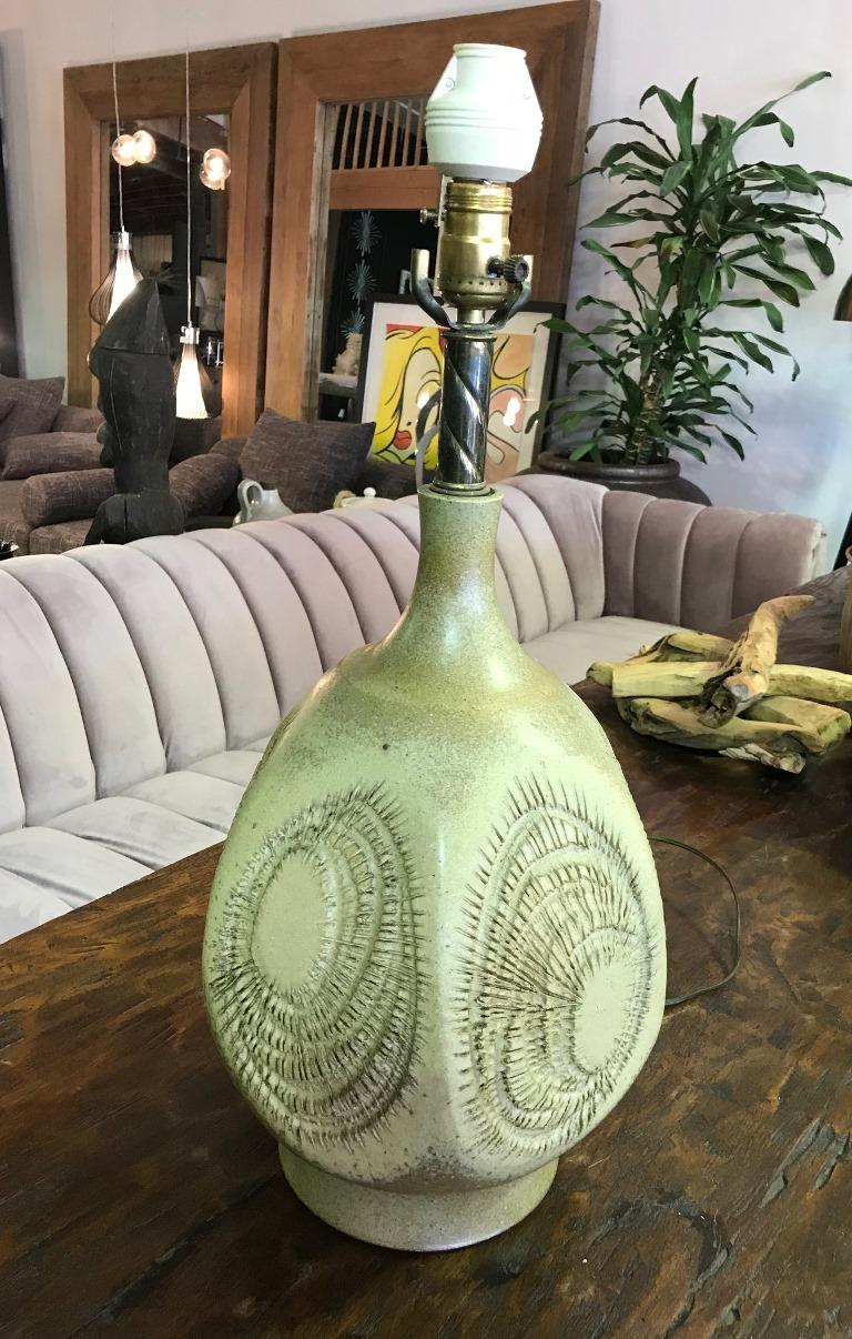 Robert Maxwell Signed Large Earthgender Studio Ceramic Lamp In Good Condition For Sale In Studio City, CA