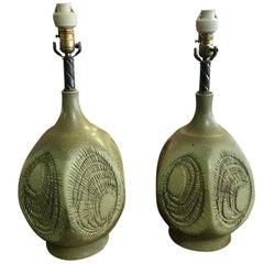 Robert Maxwell Signed Large Earthgender Studio Ceramic Lamp