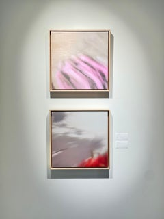 Contemporary Abstract Neutral Square Oil Paintings of Movement and Color