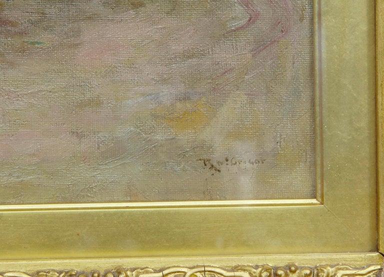 Victorian Robert McGregor Genre Oil Painting of French Village Scene For Sale