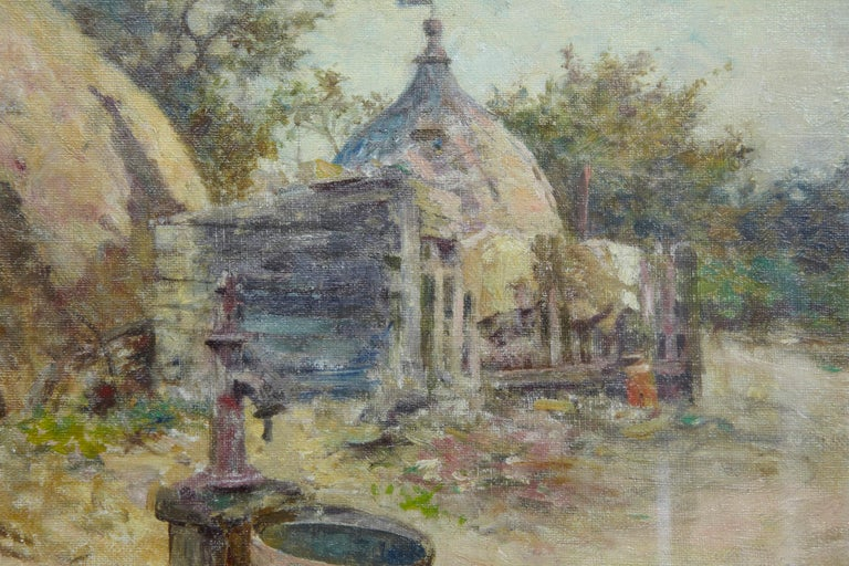 Hand-Painted Robert McGregor Genre Oil Painting of French Village Scene For Sale