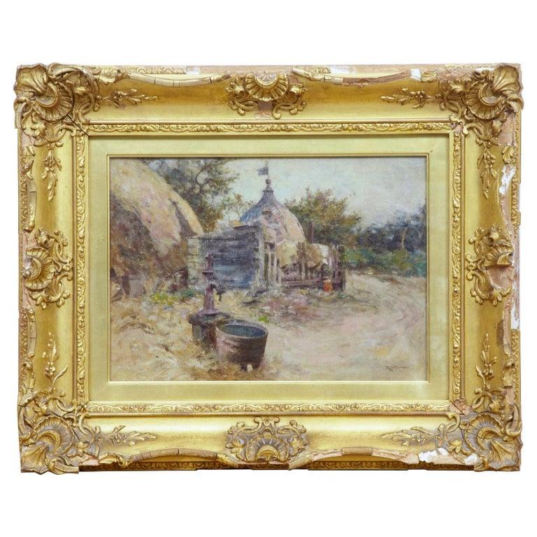 Robert McGregor Genre Oil Painting of French Village Scene For Sale