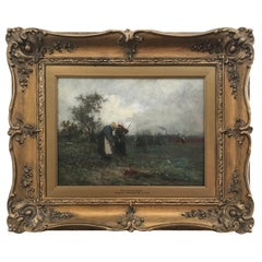 Robert McGregor Scottish Artist Oil on Canvas - Field Workers Circa 1890