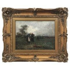Robert McGregor Scottish Artist Oil on Canvas, Field Workers, Circa 1890