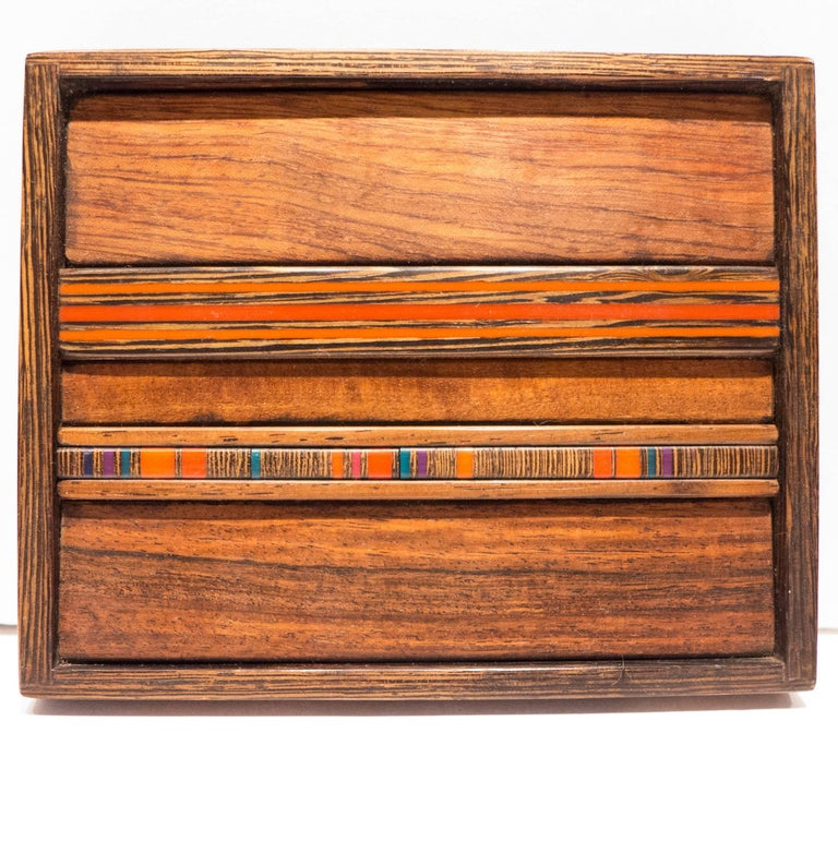 Mid-Century Modern Robert McKeown Box with Resin Inlay For Sale