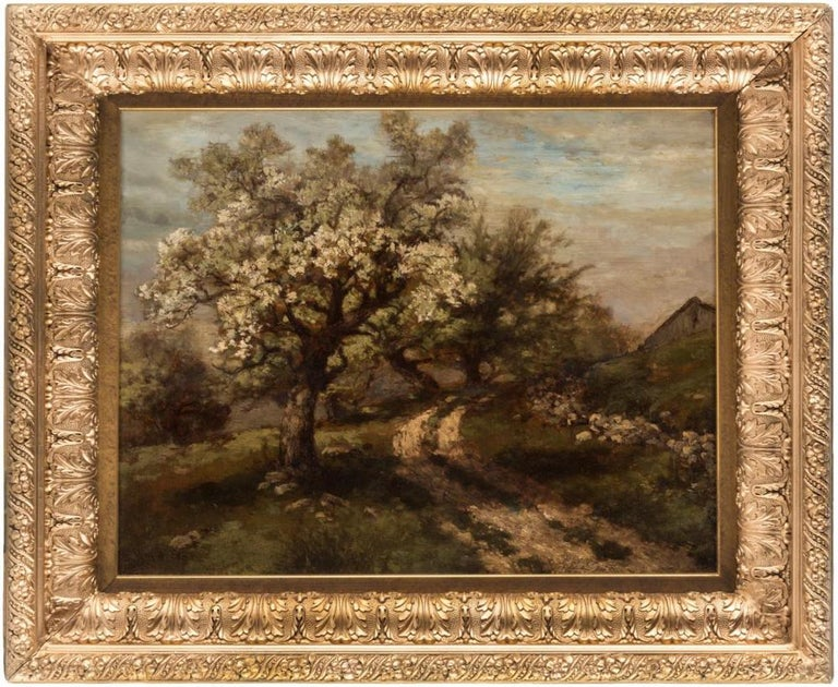 Robert Melvin Decker (American 1847-1921) Country path with blossoming apple trees,  oil on board. Measures: 36.7 x 46.7 cm (14 1/2 x 18 3/8 in.).