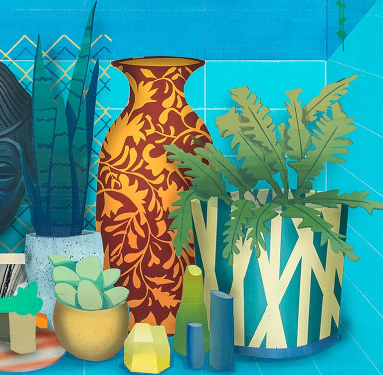 In the Fold - Blue Still-Life Painting by Robert Minervini