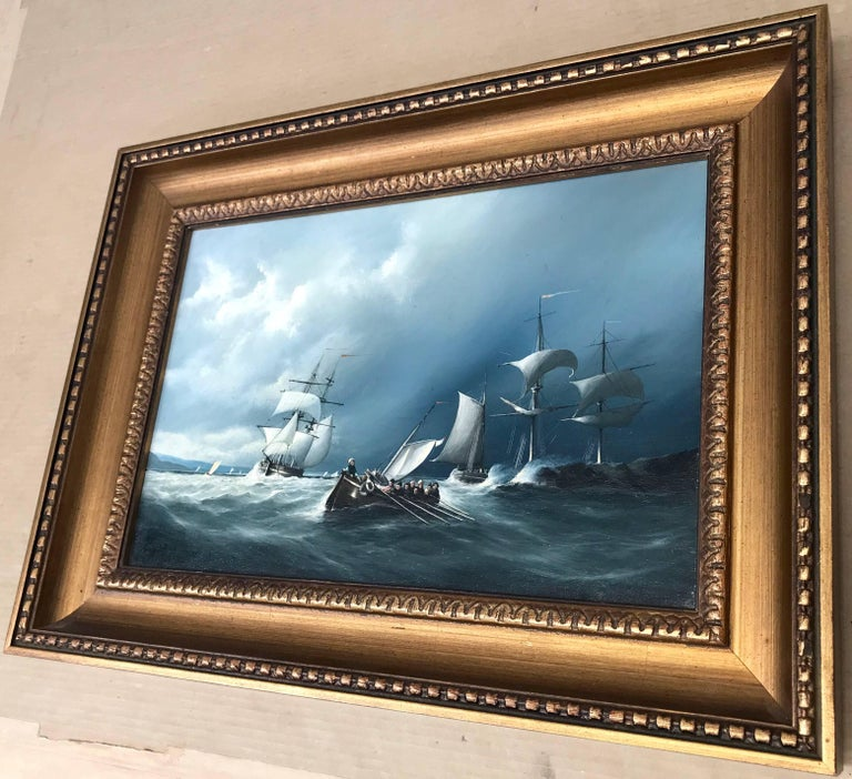 Original Oil Painting Seascape with Sailing Boats by British Maritime Artist For Sale 1
