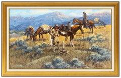 Robert Morgan Original Oil Painting On Canvas Signed Western Landscape Horse Art