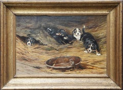 Mouse with Spaniel Puppies - British Edwardian art dog portrait oil painting